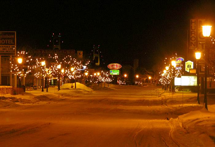Mckinaw City and the Mackinac Bridge on a winter night.