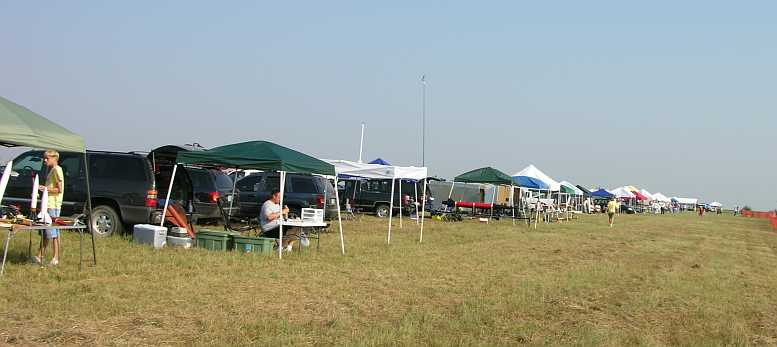 Campers setting up on the Line at Argonia, Kansas