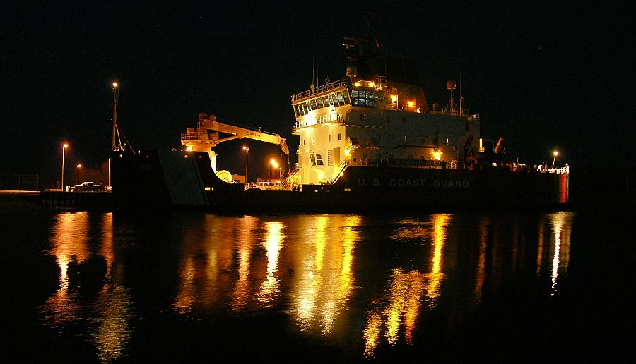 United States Coast Guard Cutter Mackinaw night photo