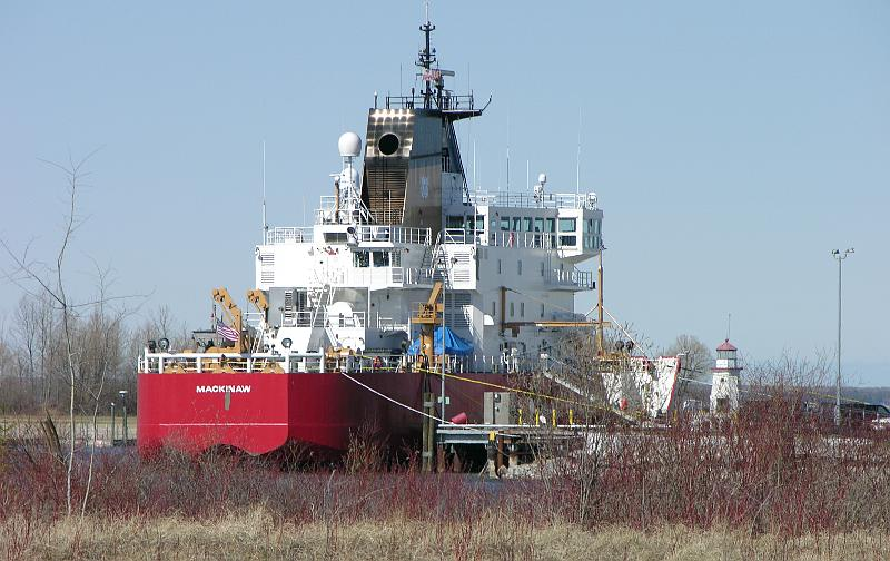 Coast Guard Cutter Mackinaw at dock in the Cheboygan River