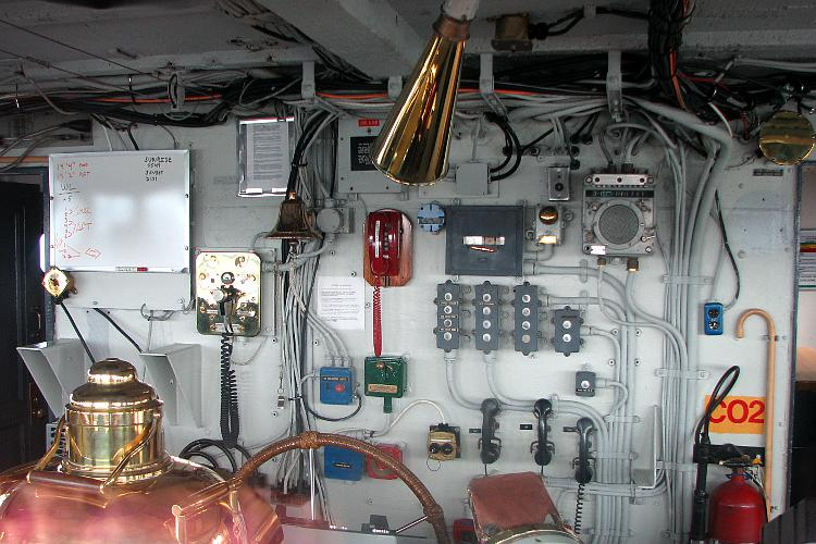 Gages, controls, and wheels on the USCGC Mackinaw