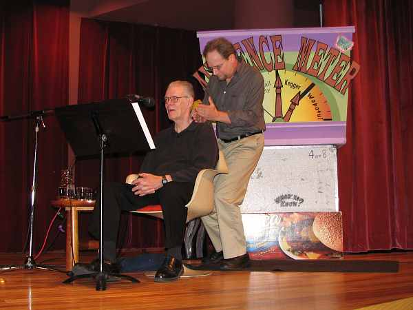 Jim Packard and Michael Feldman on Whad'ya Know  stage.