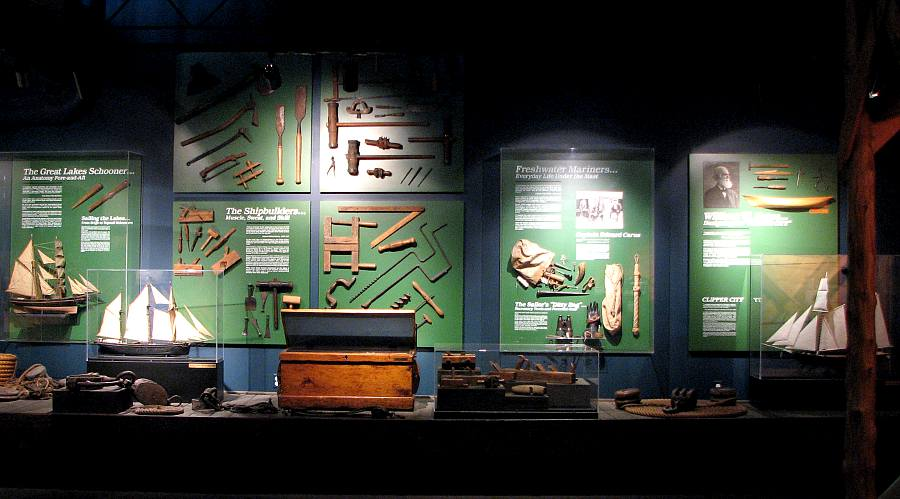 Wooden ship building exhibit in the Wisconsin Maritime Mueum.