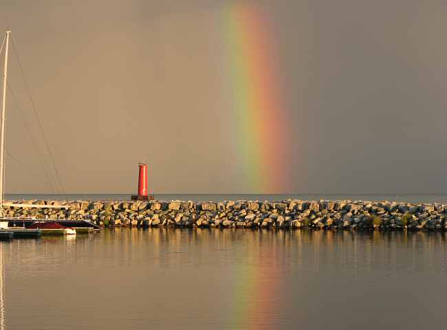 Breakwater lighthouse and rainbow - Sheboygan, Wisconsin
