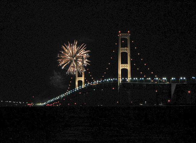 fireworks and Mackinac Bridge