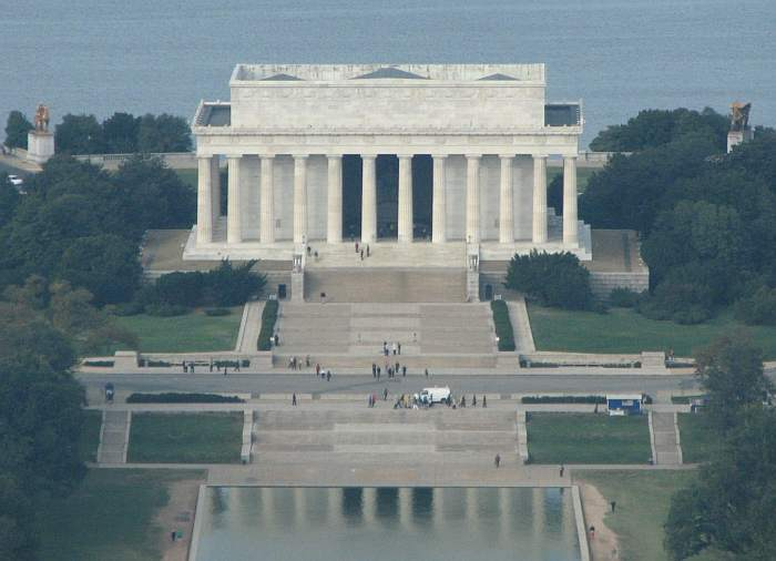 Lincoln Memorial as seen from the top of the Washington Monument