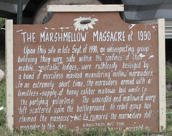 The Marshmallow Massacre of 1990 hisotircal marker