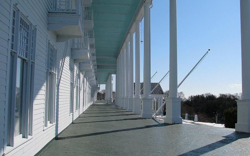 Grnad Hotel porch in winter - Mackinac Island, Michigan