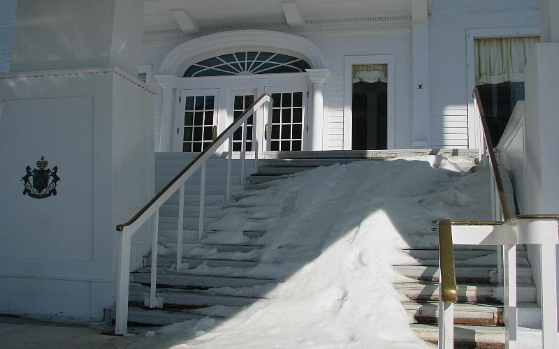 Grand Hotel porch stairs in winter