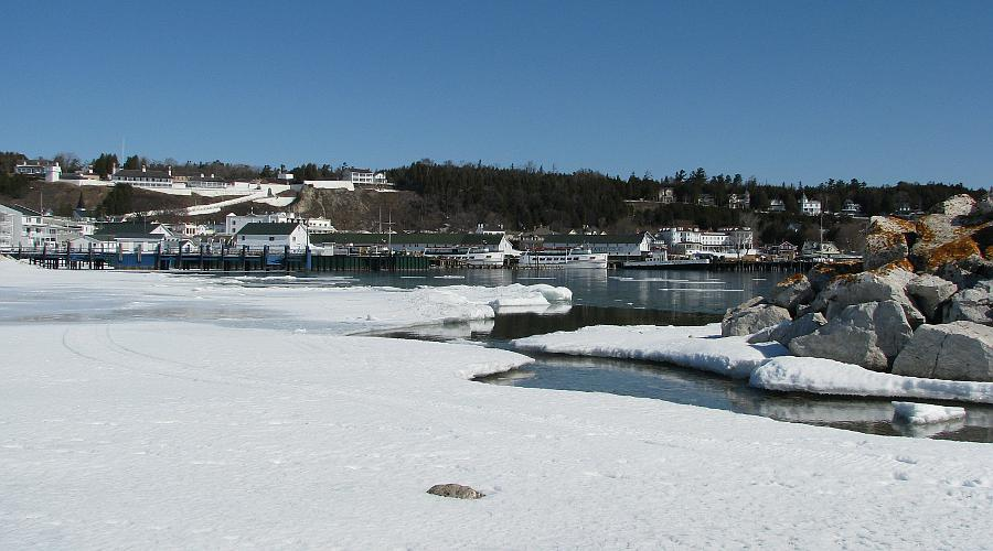 Mackinac Island harbor in winter