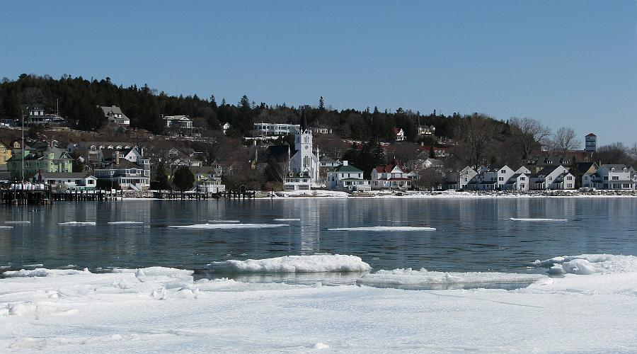 Mackinac Island shore in winter