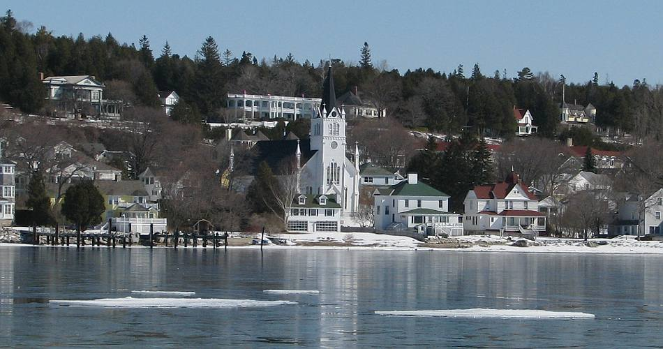 St. Anne's Church - Mackinac Island, Michigan in the winter