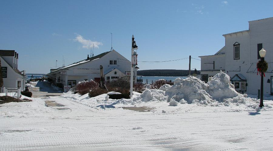 Arnold Transit Dock in winter - Mackinac Island