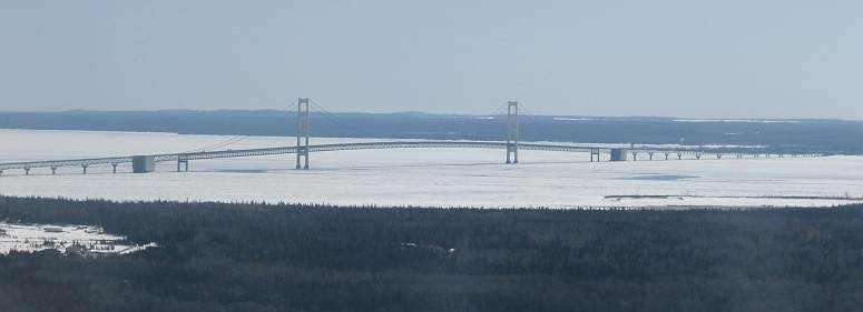 Mackinac Bridge in winter from the air