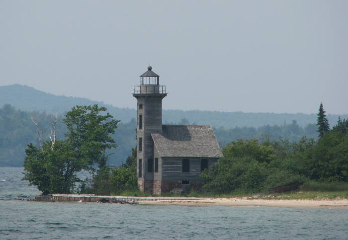 Grand Island East Channel Lighthouse is on private property on Grand Island, Michigan.