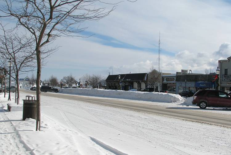 Mackinaw City main street in winter