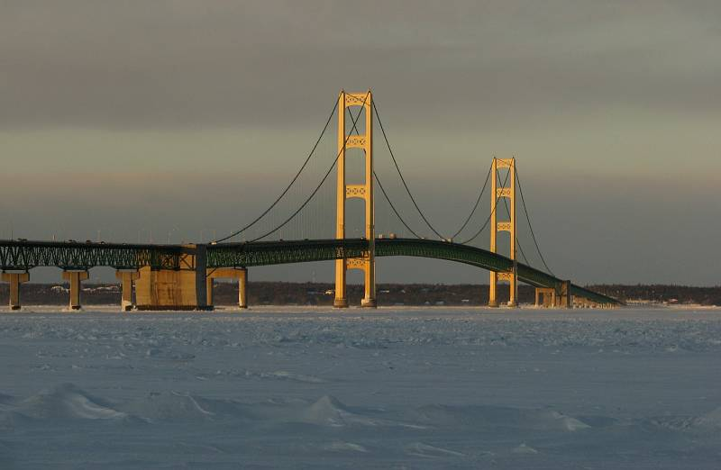 Mackinac Bridge featured on two postage stamps