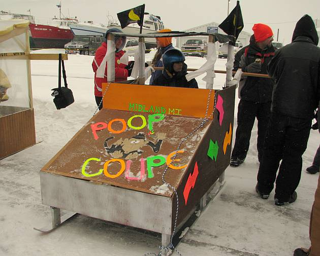 Poop Coupe racing outhouse from Midland, Michigan