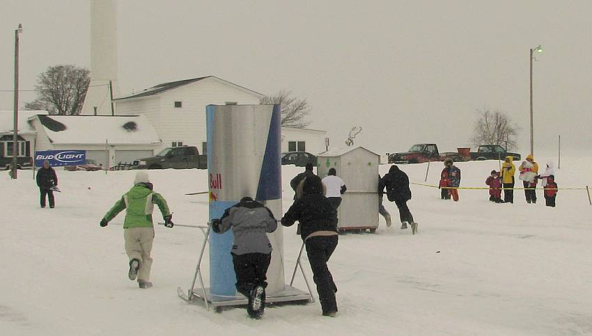 Red Bull Outhouse - Mackinaw City winter