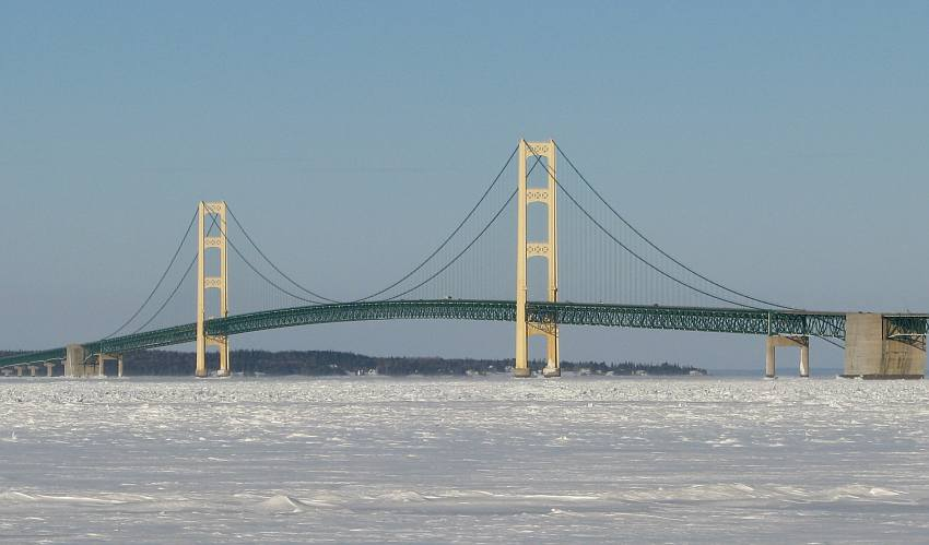 Mackinac Bridge with ice covered Straits