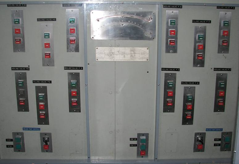 Heeling and trimming control panel on the USCGC Mackinaw