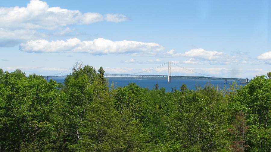 Mackinac Bridge and Mackinac Island from McGulpin Point