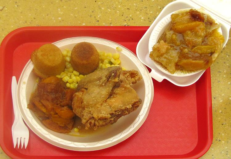 Paschal's fried chicken and peach cobbler