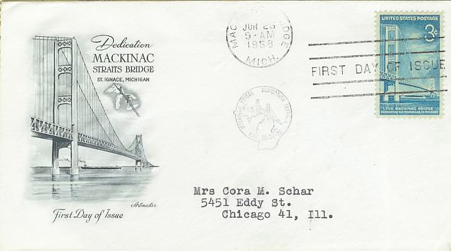 Mackinac Bridge Stamp First Day of Issue cancellation - 1958