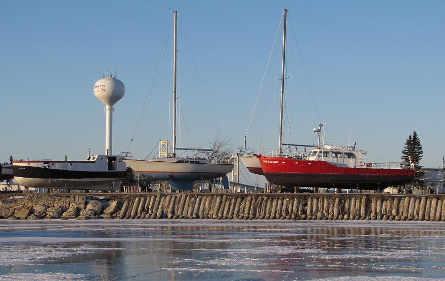 boats in dry dock in Mackinaw City, Michigan
