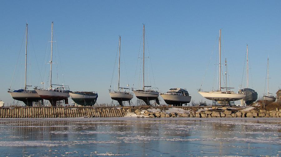 Sailboats in winter dry-dock storage