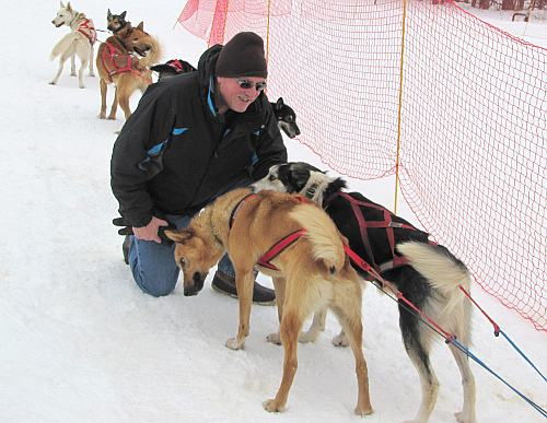 Keith Stokes and sled dogs at Boyne Highlands