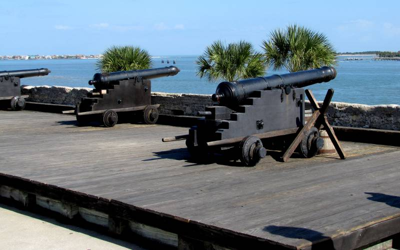 artillery battery at Castillo de San Marcos National Monument in St. Augustine, Florida
