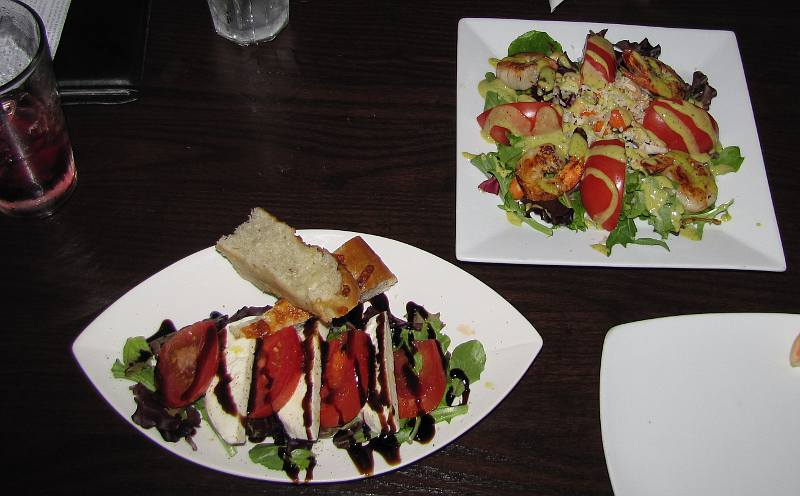buffalo mozzarella caprese and grilled shrimp at Sangrias Wine and Tapas Bistro