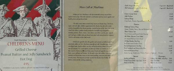 Fort Mackinac Tea Room Menu