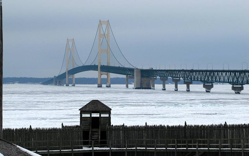 Mackinac Bridge and ice on the Straits of Mackinac