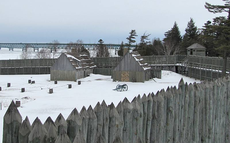 Cannon in the snow at Colonial FOrt Michilimackinac