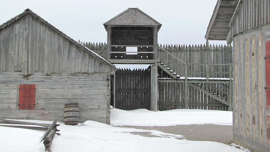 Snowy water gate at Fort Michilimackinac in Mackinaw City, Michigan