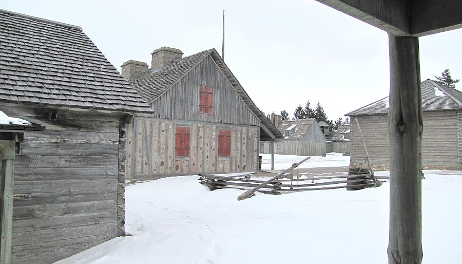 Snowy Colonial Fort Michilimackinac