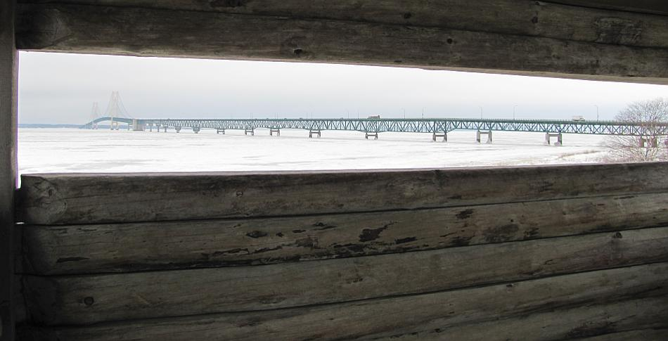 Mackinac Bridge and ice covered Straits of Mackinac