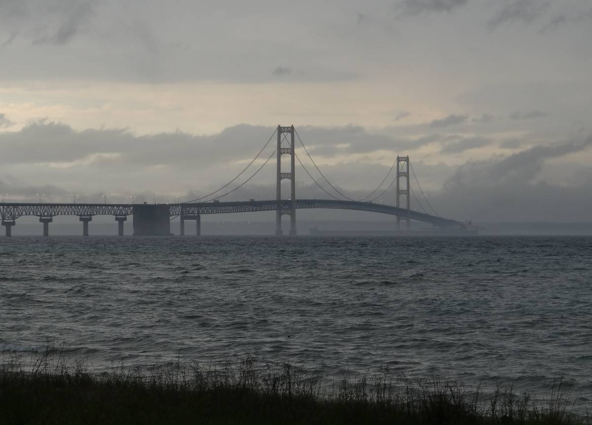 Freighter passes under the Mackinac Bridge 2012
