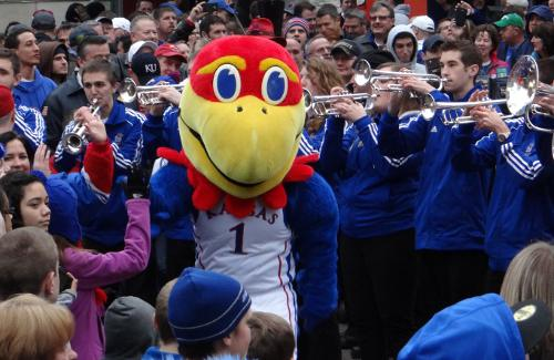Kansas Big Jay and Jayhawk pep band