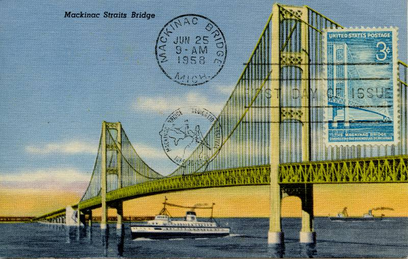 Mackinac Bridge postcard and stamp with First Day of Issue cancellation