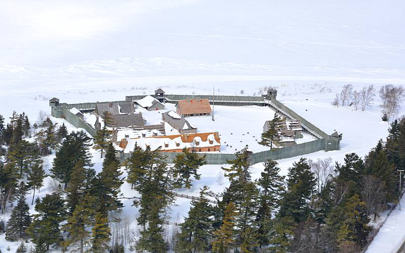 Fort Michilimackinac from the air in winter