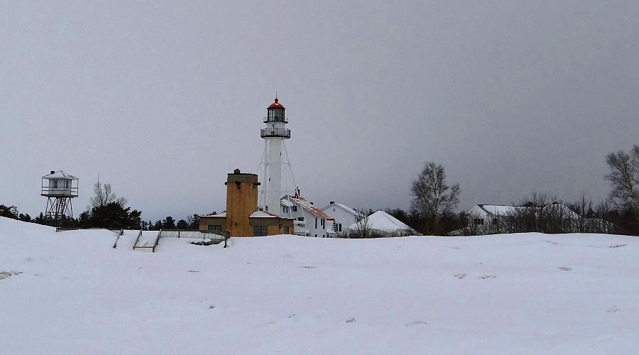 Whitefish Point Lighthouse Station in winter