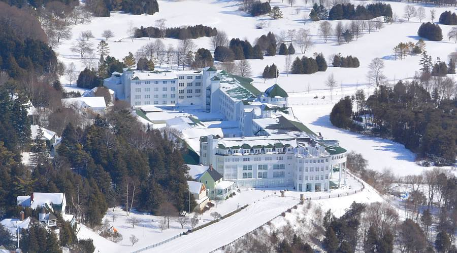 Mackinac Island From The Air In Winter