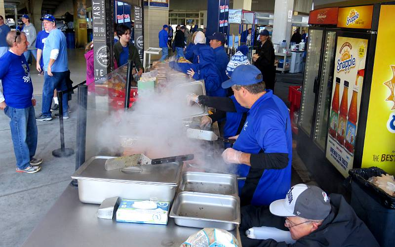 Cooking hamburgers and Kauffman Stadium