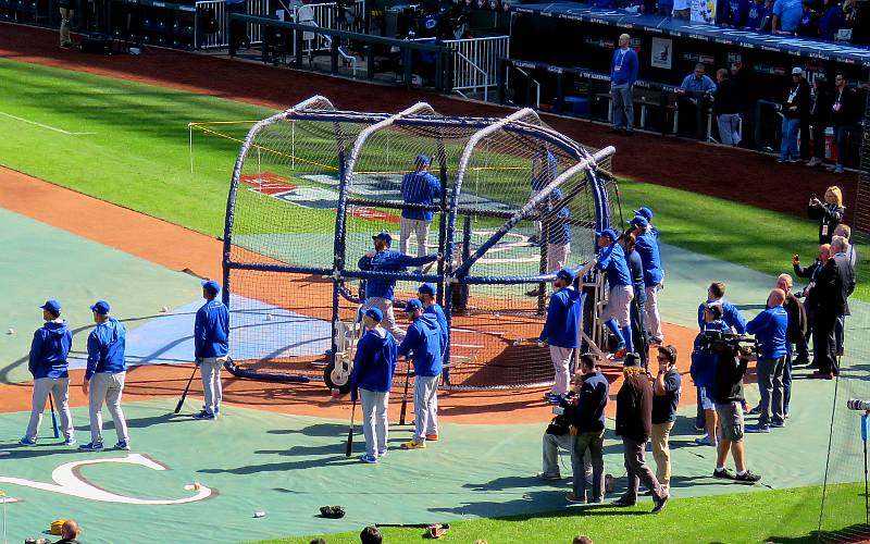 Toronto Blue Jays batting practice at Kauffman Stadium