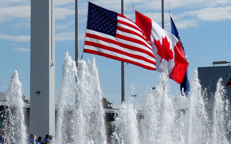 American flag and Canadian flag at Kauffman Stadium