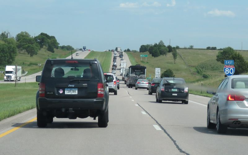 I-80 traffic following the eclipse