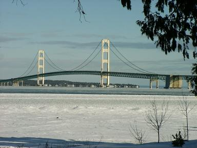 Mackinac Bridge on Christmas Day 2000
